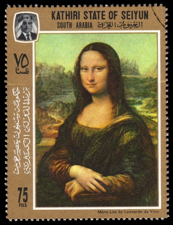 mona lisa: Kathiri State Of Seiyun postage stamp with a portrait image of the smiling Mona Lisa by the medieval Renaissance artist and inventor Leonardo Da Vinci Editorial
