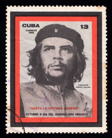 Vintage Cuba  postage stamp with an engraved image of the Marxist revolutionary guerilla leader  Che Guevara