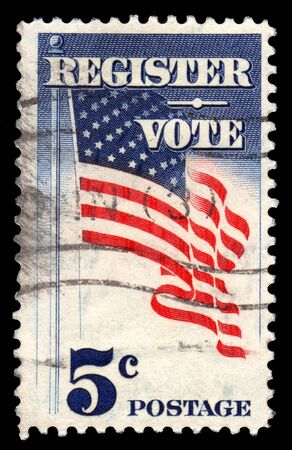 voter: USA 5 cents vintage postage stamp Register To Vote with a Stars and Stripes Flag