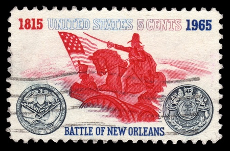 postage stamp: USA vintage postage stamp showing the Battle of New Orleans of 1815