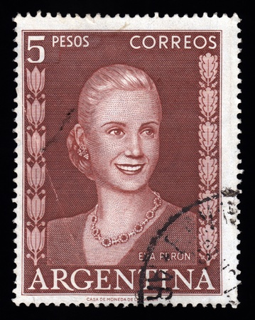 evita: Argentina vintage postage stamp showing an engraved image of Eva Peron affectionately known as Evita