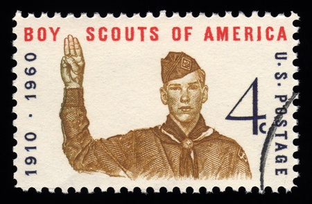 USA vintage postage stamp showing an engraving of Boy Scouts of America