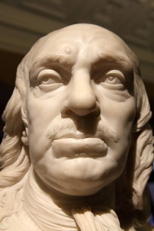 parliamentarian: Early 18th century bust sculpture by Joseph Wilton of Oliver Cromwell 1599-1658 who became Lord Protector of Britain during the short lived republic after the English Civil War Stock Photo