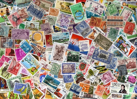 postage stamp: A large world foreign postage stamp collection background