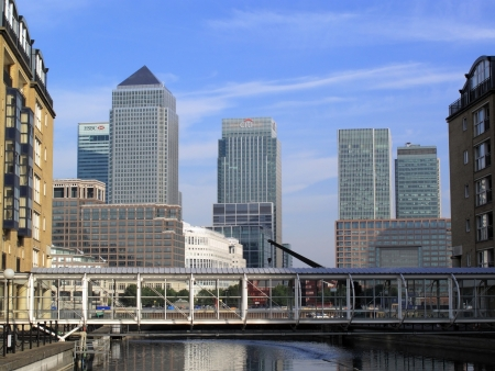 London, England, UK – September 26, 2009. Skyscrapers in Canary Wharf London Docklands showing the UK  headquarters of some of the largest banks such as Barclays, HSCB and Citybank