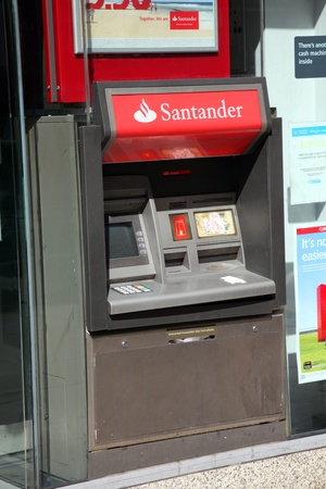 London, United Kingdom, Apr 9, 2011 : A Santander Bank cash machine at one of its branches in the City Of London