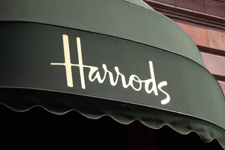 London, United Kingdom, Apr 24, 2011 : Canopy on the exterior of Harrods department store in the Brompton Road, Knightsbridge Stock Photo - 9541753
