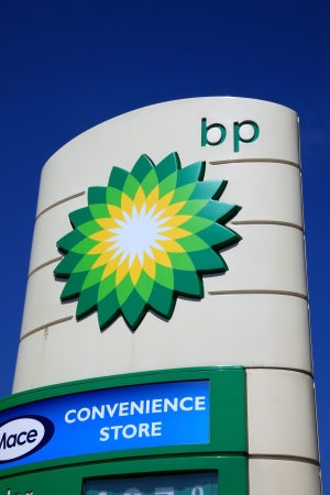 Portsmouth, United Kingdom, Apr 22, 2011 : A  BP petrol station sign in the city of Portsmouth showing its company logo