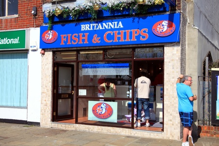 Portsmouth, United Kingdom, Apr 22, 2011 : Britannia Fish Bar a fish & chip shop serving customers in the city of Portsmouth just 100 yards from the Historic Dockyard Stock Photo - 9541774