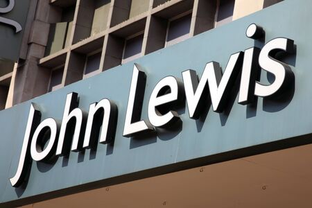 oxford street: London, United Kingdom, May 1, 2011 : Exterior of John Lewis department store in Oxford Street showing its name sign Editorial