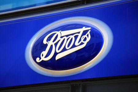 London, United Kingdom, Apr 2, 2011 : Boots chemist logo advertising sign outside one of its retail  stores in London city centre Stock Photo - 9564476