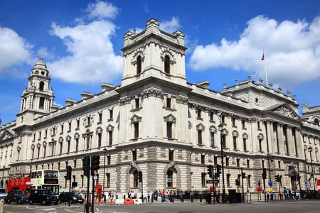 London, UK, Jun 11, 2011 : HM Treasury  at 1 Horse Guards Road,  Whitehall which is responsible for the British Governments public finance and economic policy