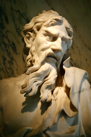 ancient civilisations: Marble sculpture from Venice dating from about 1700-50 of  Heraclitus a famous ancient Greek philosopher who lived from 535-475BC and is often known as the weeping philosopher or the Riddler.