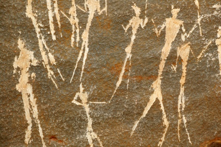 ancient civilisations: Prehistoric Neolithic African rock art from the Northern Cape showing a hunting scene