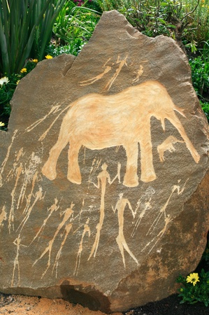 stone age: Prehistoric Neolithic African rock art from the Northern Cape showing a hunting scene