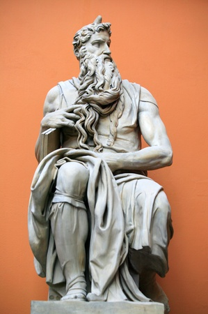 Sculpture of Moses by Michaelangelo created in 1515 the original stands in the church of San Pietro in Vincoli, Rome