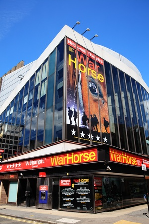 west end:  London, UK, Jul 24, 2011 : The New London Theatre in Drury Lane advertising its War Horse production
