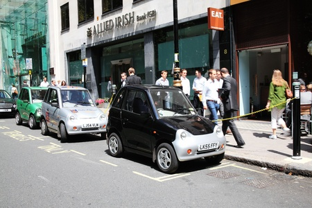 London, UK, Jun 29, 2011 : Electric cars  having their batteries recharged at charging points posts in Berkeley Square
