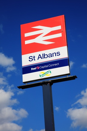 St Albans, UK, May 2, 2011 : British Rail signpost at St Albans Station in Hertfordshire showing the now privatised company logo