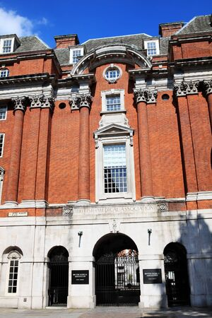 London, UK, Jul 31, 2011 : The front entrance of the British Medical Association at BMA House, Tavistock Square