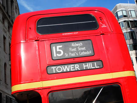 London, UK – Sep 1, 2009. The rear of a No 15 London Routemaster red double decker bus on its journey across London  from Trafalgar Square to Tower Hill which is one of two remaining designated heritage routes. The Routemaster is a profitable fare payin