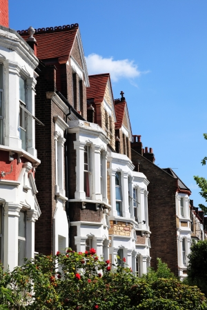 residential street: Victorian terraced town houses in London, England