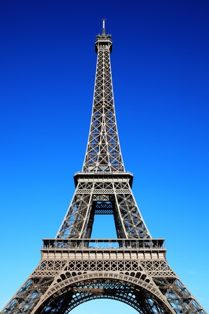 The Eiffel Tower at the Champ-De Mars in Paris, France, which is 300m tall and built in 1889 for the Exposition Universelle on the centenary of the revolution photo
