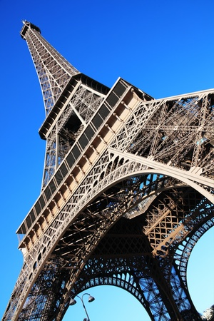 The Eiffel Tower at the Champ-De Mars in Paris, France, which is 300m tall and built in 1889 for the Exposition Universelle on the centenary of the revolution Stock Photo - 10820360