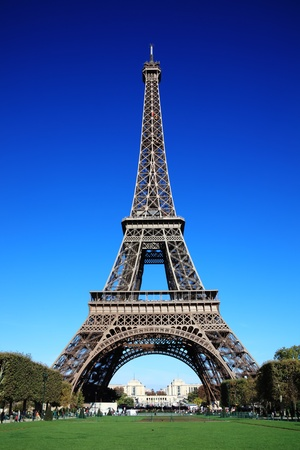 The Eiffel Tower at the Champ-De Mars in Paris, France, which is 300m tall and built in 1889 for the Exposition Universelle on the centenary of the revolution Editorial