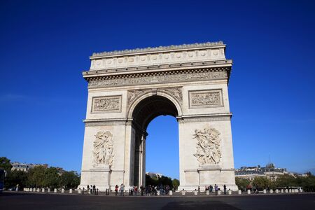 Paris, France, Sep 18, 2011: The  Arc De Triomphe at the western end of the Champs-Elysees, being viewed by visiting tourists