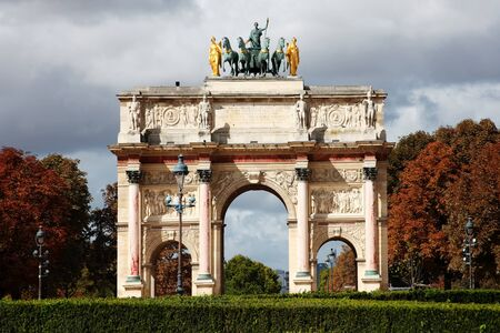 Arc de Triomphe du Carrousel at Place du Carrousel, Paris, France, which was designed by Charles Percier and Pierre Francoise Leonard Fontaine and built between 1806-8 to celebrate Napoleons victories