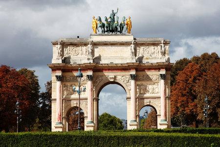 carrousel: Arc de Triomphe du Carrousel at Place du Carrousel, Paris, France, which was designed by Charles Percier and Pierre Francoise Leonard Fontaine and built between 1806-8 to celebrate Napoleons victories