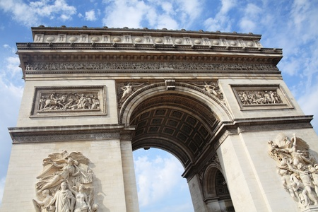 The Arc De Triomphe in Paris France, a French national landmark Stock Photo - 10909485
