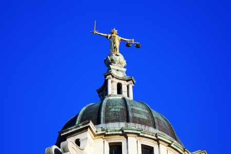 Scales of Justice of the Central Criminal Court fondly known as The Old Bailey in the city of London, England, UK Stock Photo