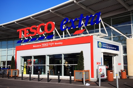 wembley: London, UK – Nov 19, 2011:  The entrance to the Tesco Extra supermarket store in Brent Park Wembley