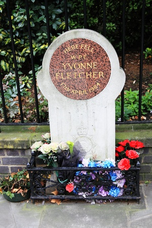st jamess: London, UK - August 30, 2011: memorial to WPC Yvonne Fletcher in St Jamess Square who was fatally shot by the occupants of the Libyan embassy in 1984 Editorial