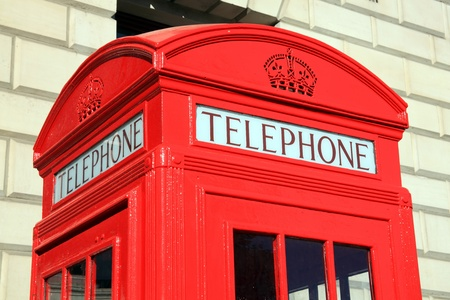telephone booth: Traditional red London telephone box