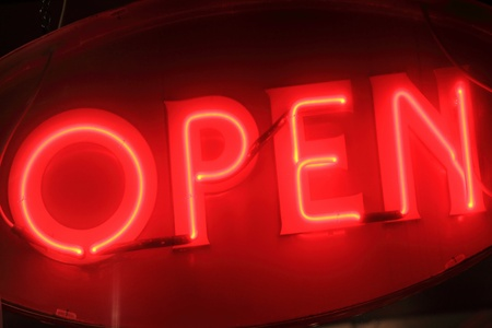 florescent light: Red open neon sign sign at night  Stock Photo