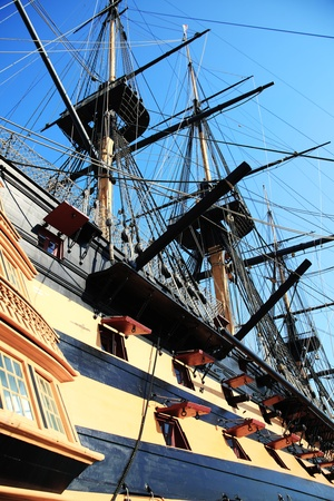 HMS Victory was Admiral Horatio Nelson's flagship at the Battle of Trafalgar in 1805 during the Napoleonic Wars. She is currently in a dry dock at Portsmouth, England serving as a major tourist attraction for the city