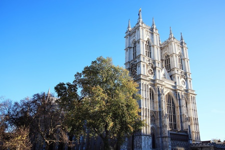 Westminster Abbey in Westminster, London, England, UK, horizontal photograph with a clear blue sky photo