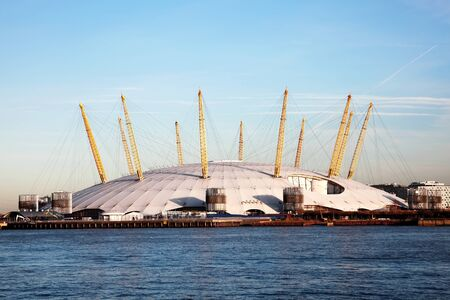 o2: London, UK � December 10, 2011: The Millenium Dome approaching from the River Thames, now known as the O2 Concert Hall, popular for its live music acts