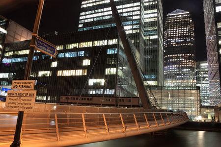 London, UK - November 17, 2011: Footbridge to Canary Wharf in London Stock Photo - 11816983