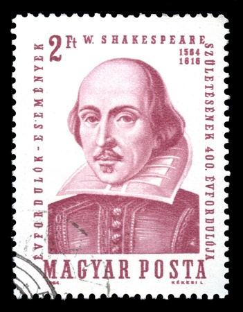 english famous: Hungary postage stamp showing an engraving of the famous English Elizabethan playwright William Shakespeare