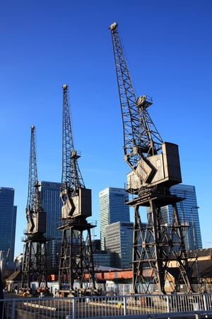 London, UK � December 10, 2011: The historic cranes at Canary Wharf in London's Docklands