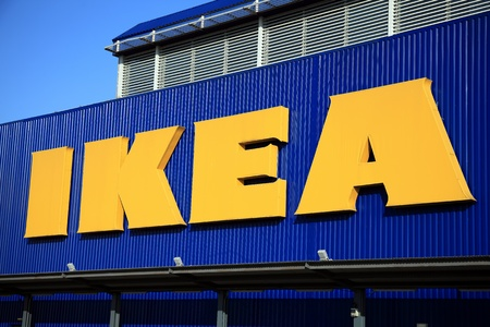 wembley: London, UK – November 19, 2011:  Ikea logo advertising sign outside its retail supermarket stores in Brent Park Wembley Editorial