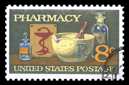 USA vintage  pharmacy postage stamp showing the anniversary of  the American Pharmaceutical Association photo
