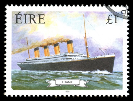 titanic: Republic of Ireland (Eire) postage stamp showing an image of RMS Titanic, built in Belfast , Ireland and sunk on its maiden voyage in 1912,from Southampton, England to New York, USA