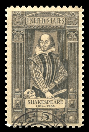 english famous: USA vintage postage stamp showing an engraving of the famous English Elizabethan playwright William Shakespeare