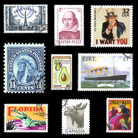 Assorted collection of European and American postage stamps from the USA, Ireland, France, Mexico Hungary and Canada Standard-Bild