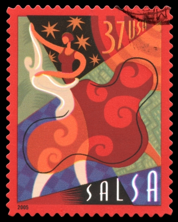 USA postage stamp of 2005 showing an abstract image of a couple dancing the Salsa